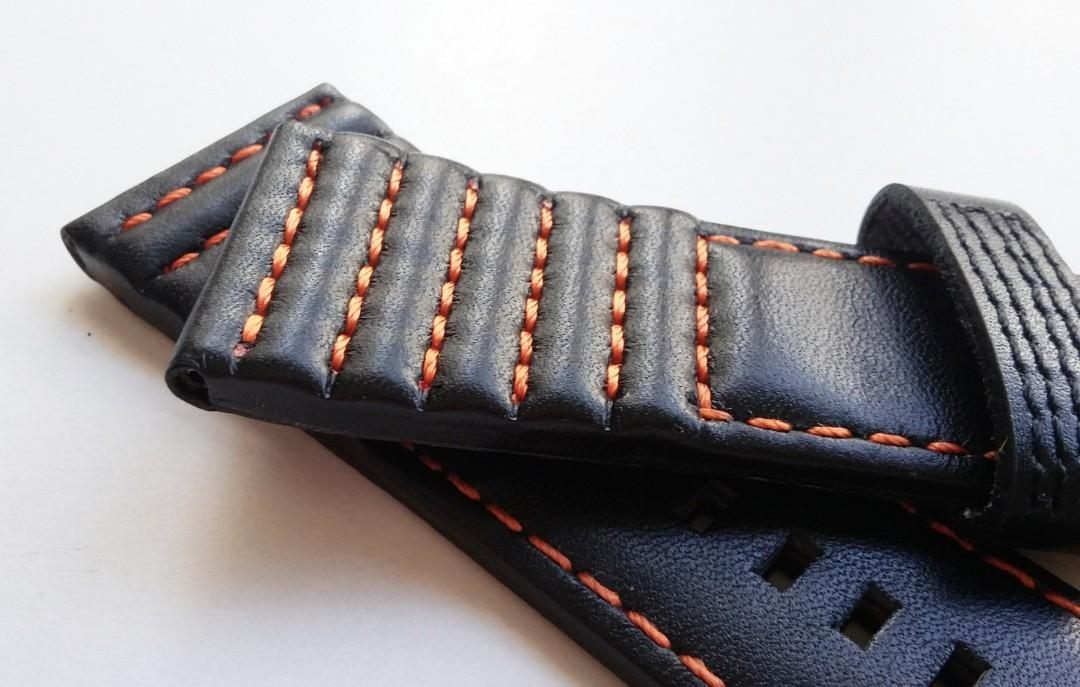 28mm GENUINE THICK BLACK LEATHER STRAP HAND SEWN W ORANGE STITCHES AND STAINLESS STEEL BUCKLE FOR USE ON SEVENFRIDAY (PRICE INCLUDES FITMENT)