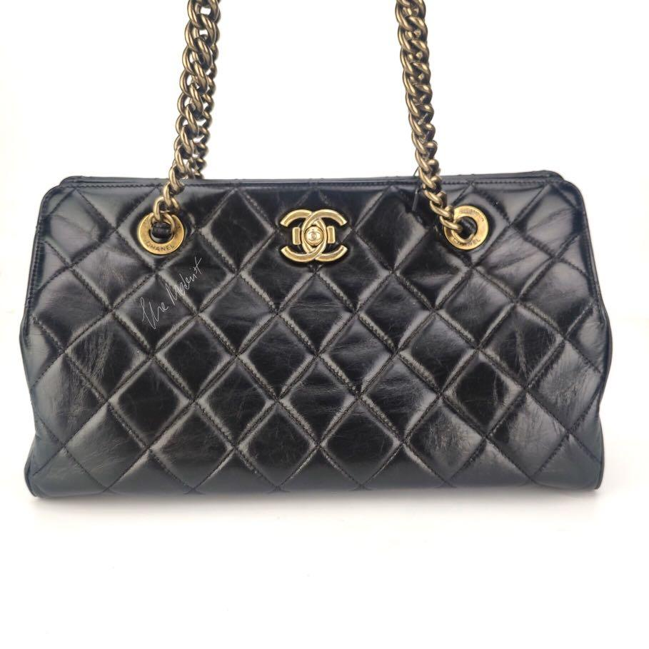 Authentic Chanel Quilted Black Calf Leather Shoulder Bag Aged Gold Hardware
