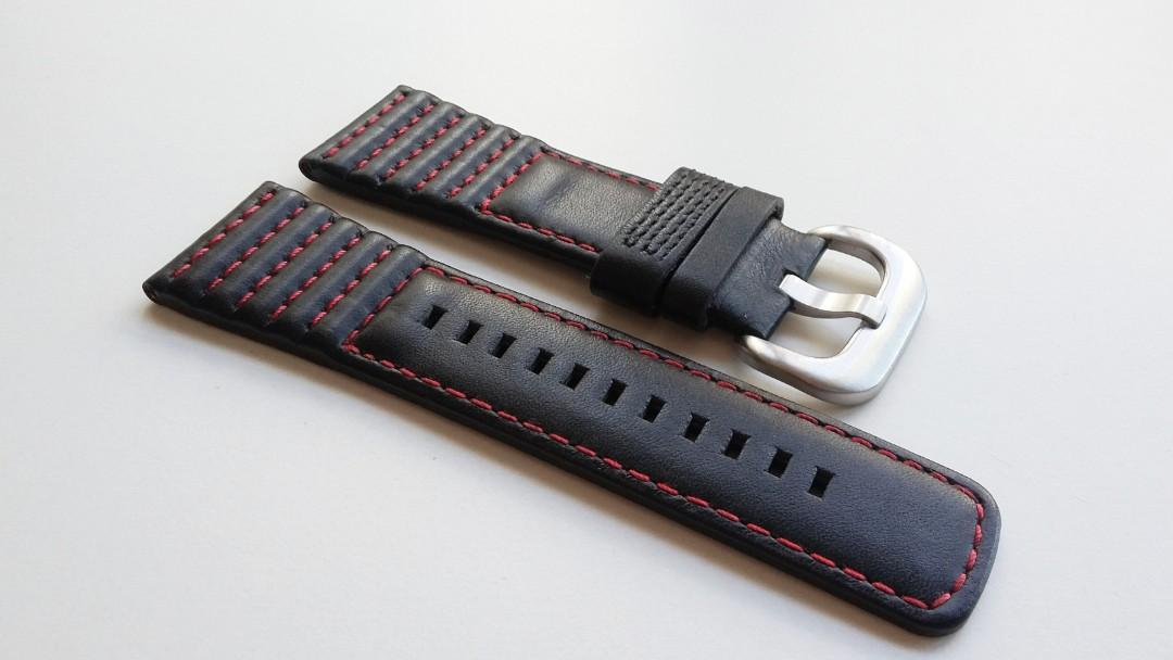 28mm GENUINE THICK BLACK LEATHER STRAP HAND SEWN W RED STITCHES AND STAINLESS STEEL BUCKLE FOR USE ON SEVENFRIDAY (PRICE INCLUDES FITMENT)