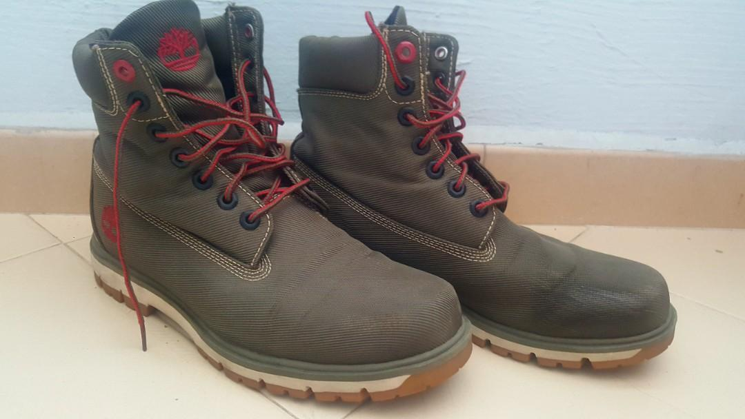 Timberland Boots Olive Green Canvas US8