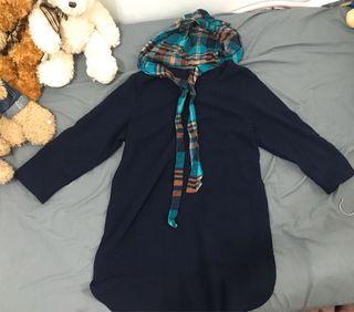 深藍色格子領巾洋裝(可換物)