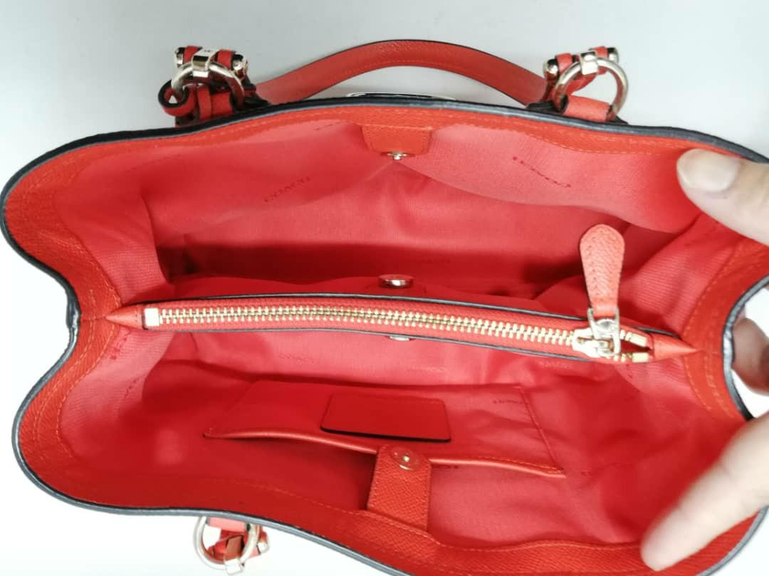 AUTHENTIC COACH RED LEATHER TOTE WITH LONG STRAP - OVERALL IN GOOD CONDITION- (RETAILS  AROUND RM 3000+)