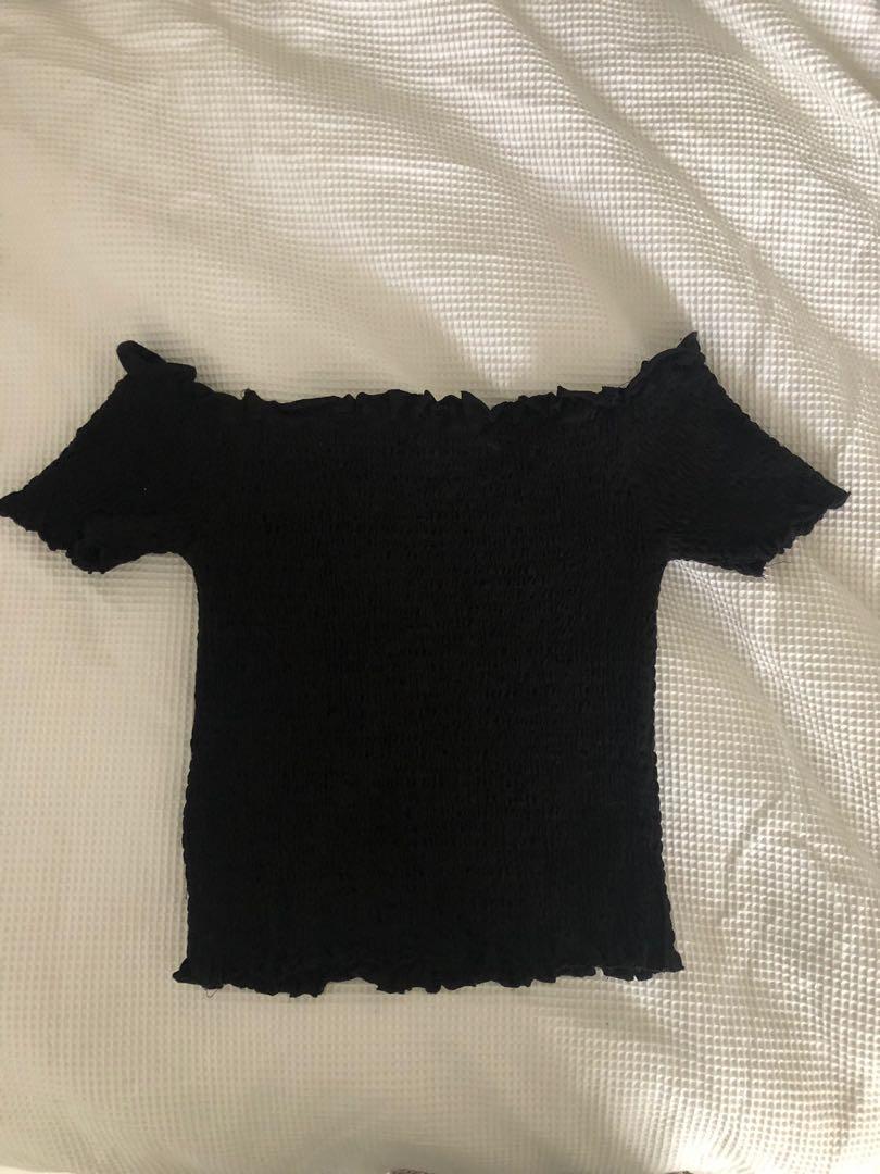 black ribbed off the shoulder top