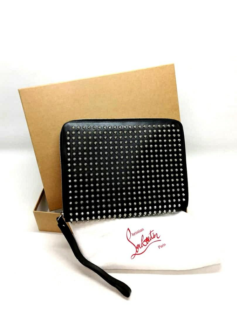 BRAND NEW ! - AUTHENTIC CHRISTIAN LOUBOUTIN SPIKE STUDDED LARGE ORGANIZER BAG - UNISEX ITEM - BRAND NEW - WITH DUSTBAG & BOX - (NOW RETAILS AROUND RM 5000+)