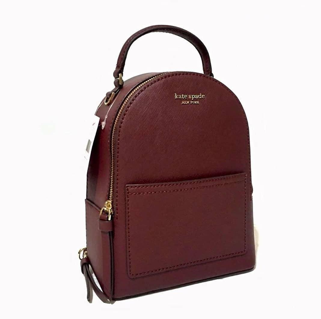 Kate Spade Mini Cameron Convertible Backpack Leather Saffiano Cherrywood 17×21×8