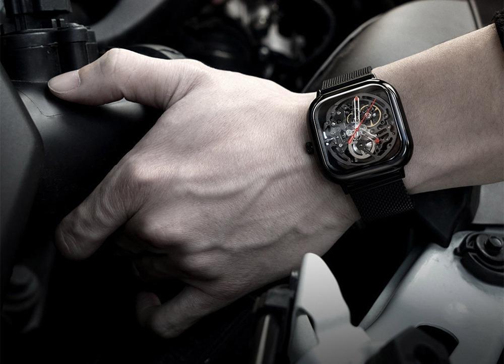 Xiaomi CIGA Wristwatch Hollow Mechanical Stainless Steel Braided Band Automatic Mechanical Core Men's Watch -Black