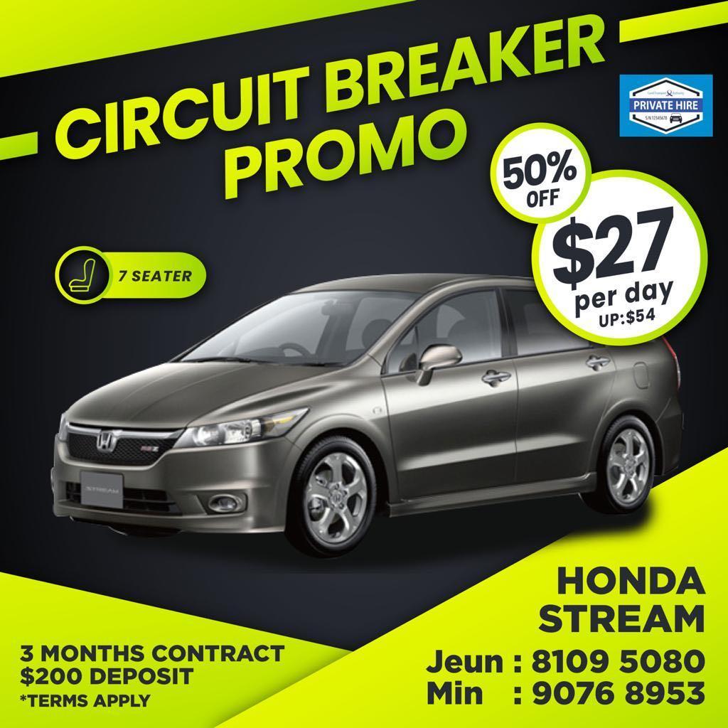 50% OFF - Honda Stream MPV                        ( Grab / PHV Car Rental )