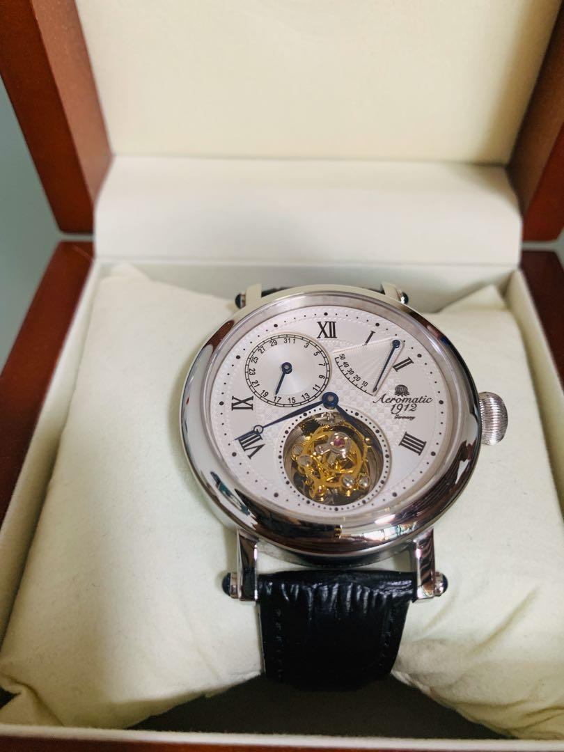 🔥 AEROMATIC 1912 FLYING MINUTE TOURBILLON HAND WIND WATCH WITH POWER RESERVE #A1277 🔥 Brand New Limited Edition