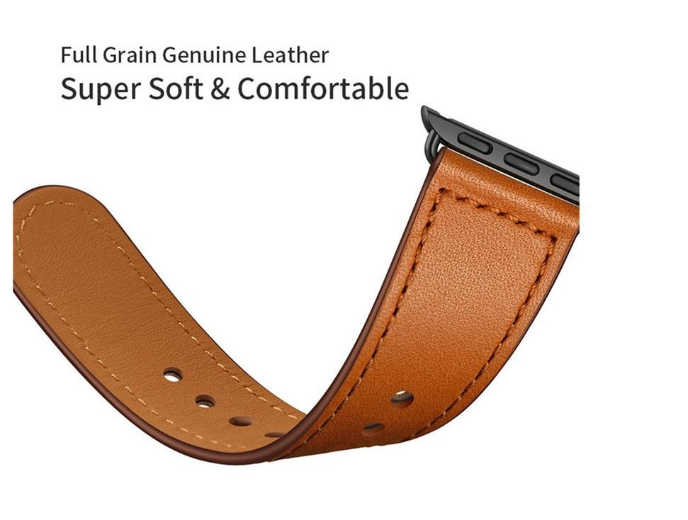 AWESOME DEAL!! Premium 100% Genuine Leather Band for Apple Watch 42/44mm (Brown)