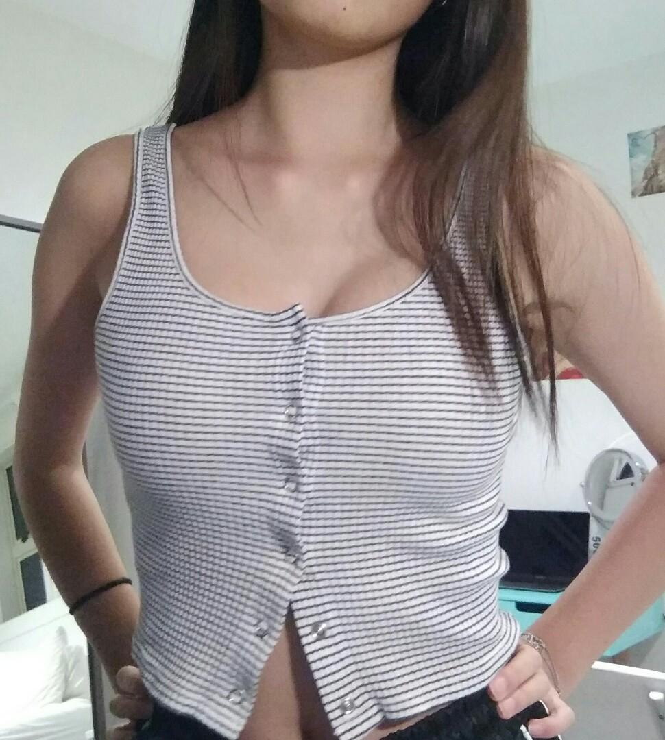 Black and white button up tank top