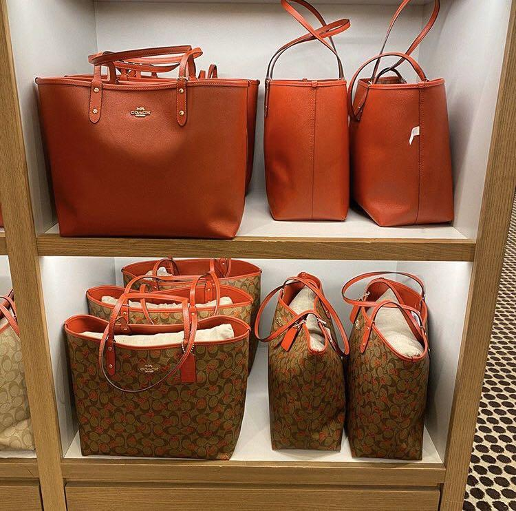 Coach Reversible City Tote in Signature Canvas with Crayon Hearts Print in Khaki Multi True Red