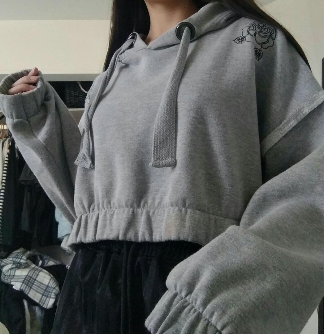 Grey cropped factorie hoodie