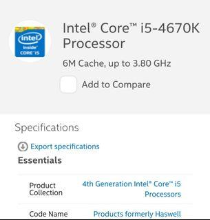 looking for intel core i5 processor,  LGA1150
