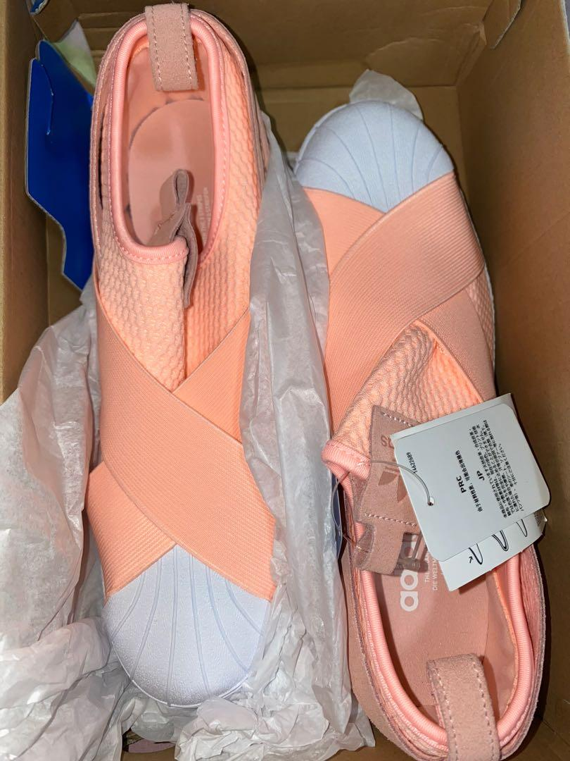adidas slip on peach