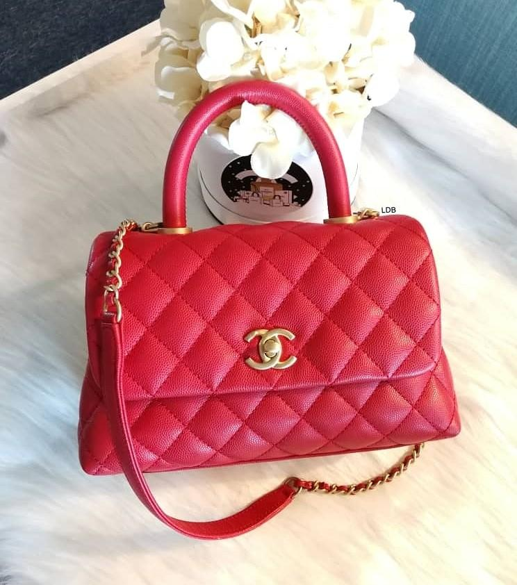 Authentic Chanel Coco Handle Small A92990 24 cm Red Caviar with Gold Hardware