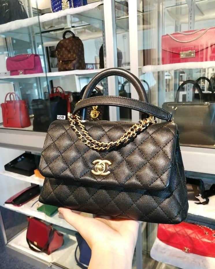 Authentic Chanel Coco Handle Small A92990 24 cm Black Caviar with Gold Hardware