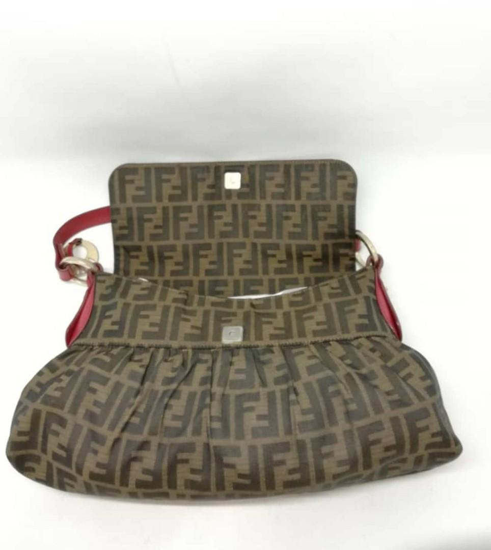 CHEAP DEAL - AUTHENTIC FENDI FF MONOGRAM LOGO ZUCCA, BIG  SHOULDER BAG - OVERALL IN GOOD CONDITION - (FENDI MONOGRAM LOGO BIG SHOULDER BAGS NOW RETAIL OVER RM 10,000+)