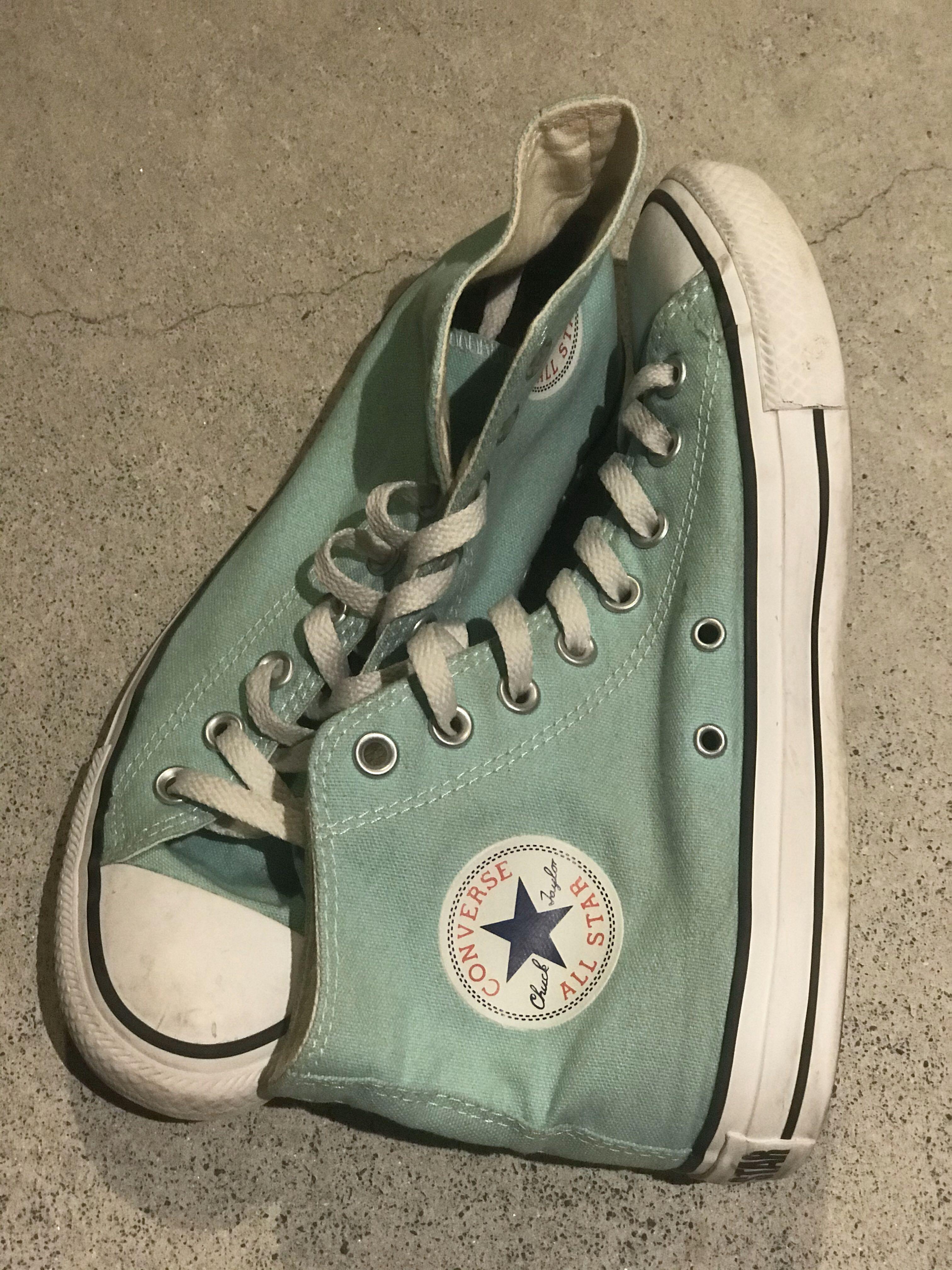 converse size 9 high tops chuck taylors teal