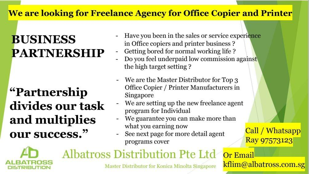 Freelance agent for Office Copier and Printers Sales