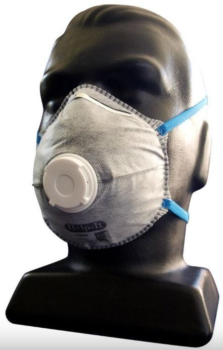 IMMEDIATE STOCK!! Help-It P2CV N95 Moulded Face Mask Conical Carbon Filter Valved Each