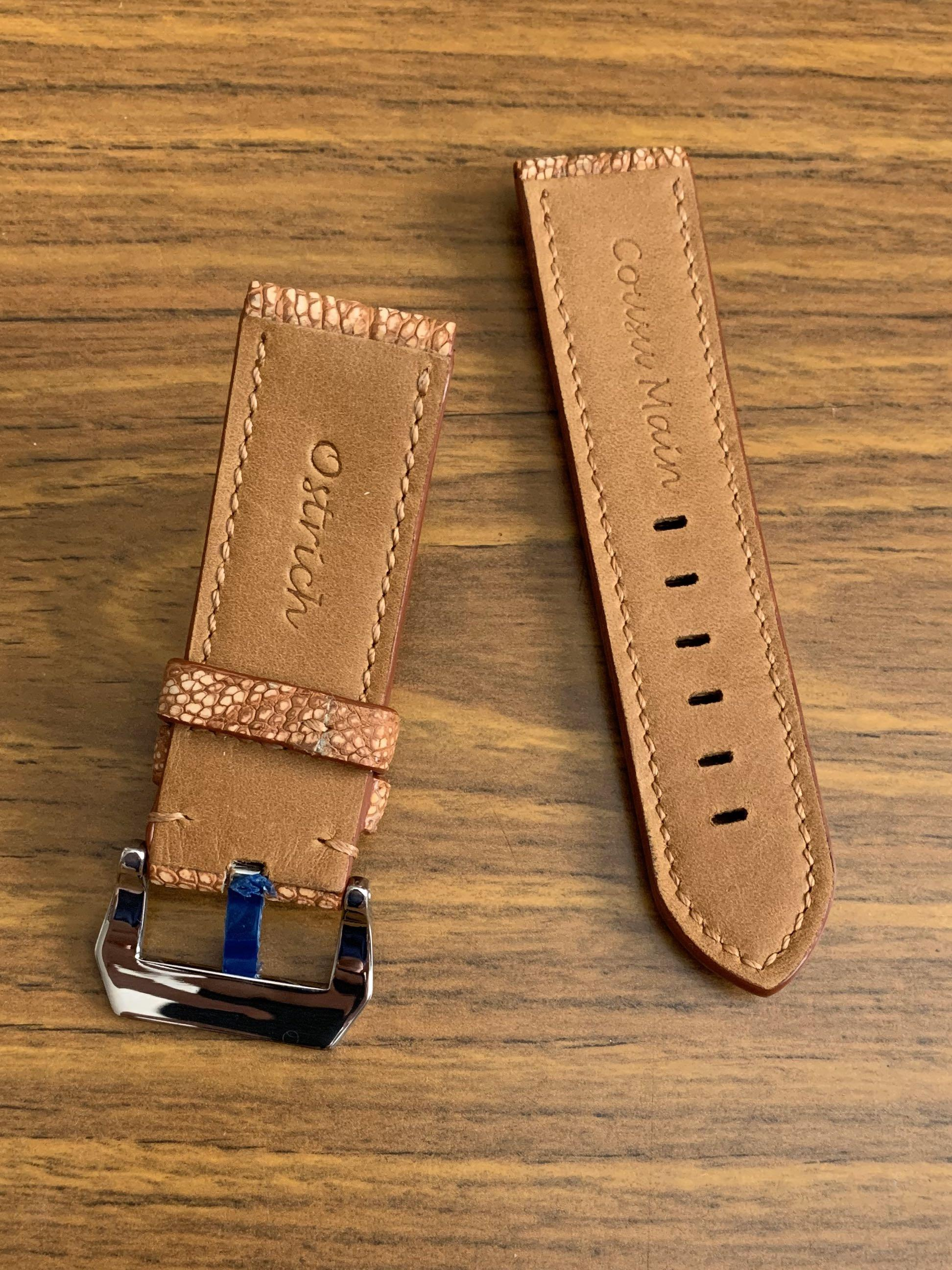 24mm/24mm Authentic Whiskey Brown Ostrich Leg Small Scales Leather Watch Strap NUBUCK texture-tanned - (very unique texture, only one piece, once sold no more 😊) (Standard length: L-120mm, S-75mm)