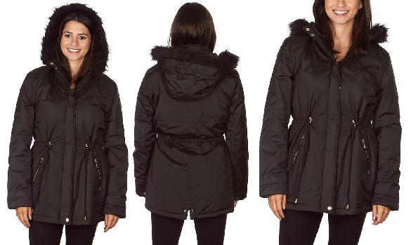 Women's Warm Parka Coat with Faux Fur Lined Hood (Size Large)