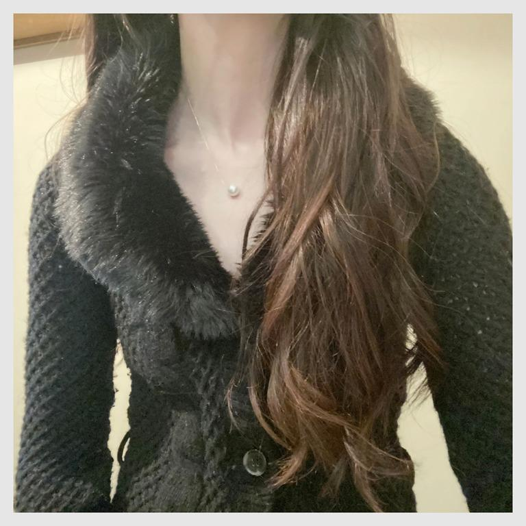 ZARA Knitwear cable knit cardigan with faux fur collar