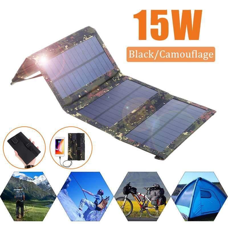 15W PORTABLE SOLAR PANEL 5V MONOCRYSTALLINE FOLDING FOLDABLE WATERPROOF CHARGER SUN POWER BANK