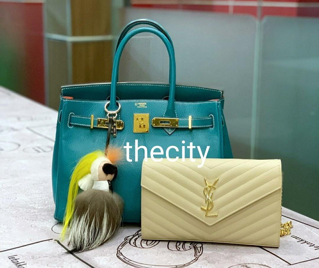 AUTHENTIC HERMES BIRKIN WITH FENDI KARLITO CHARM - & YSL CHEVRON LEATHER SLING MESSENGER POUCH BAG
