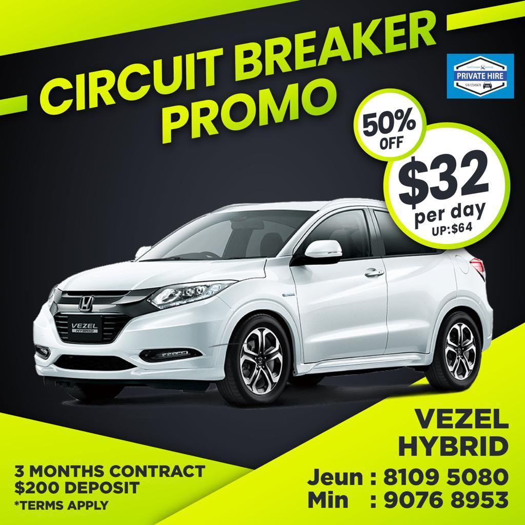 50% OFF - Honda Vezel Hybrid                          ( Grab / PHV Car Rental )