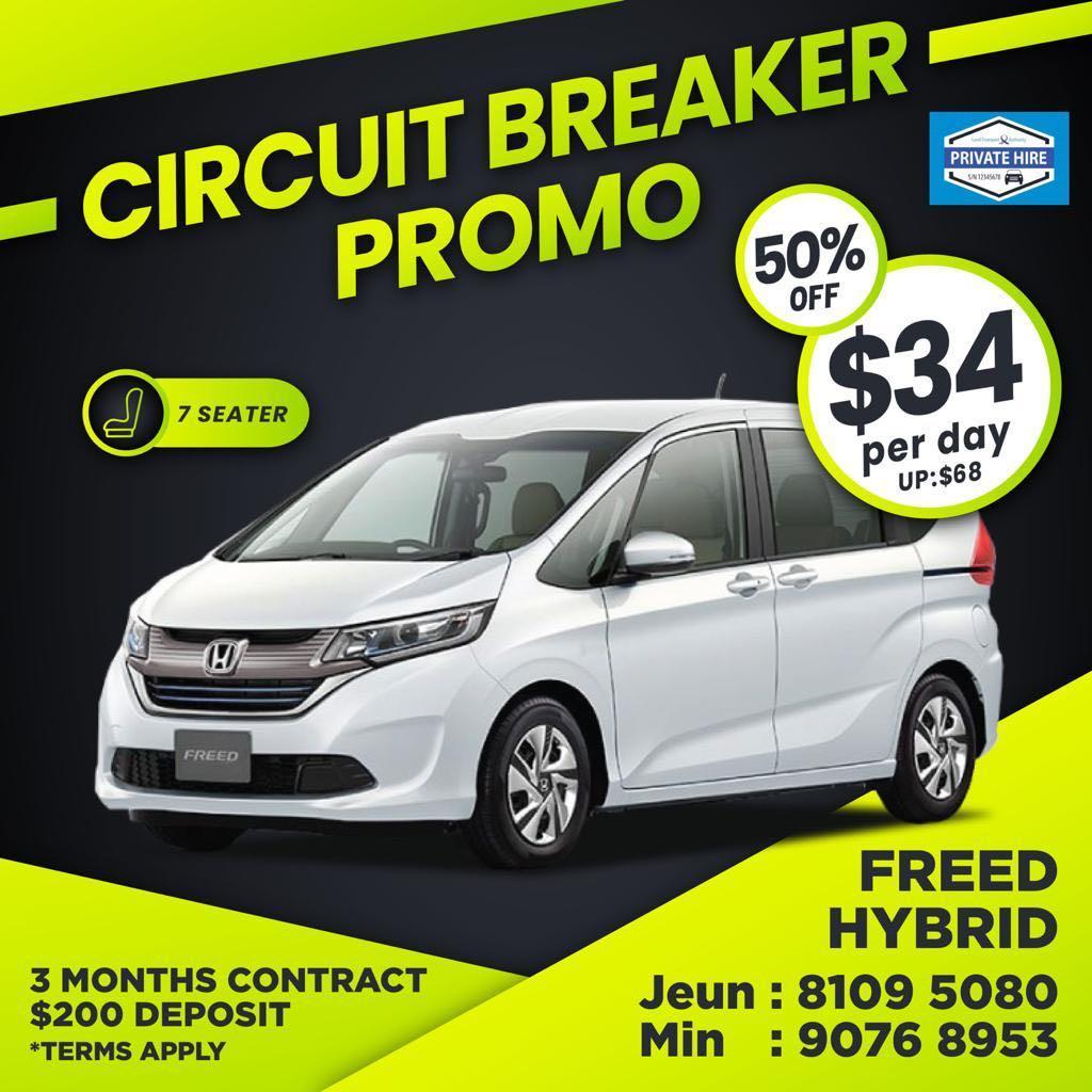 50% OFF - Honda Freed MPV Hybrid                          ( Grab / PHV Car Rental )