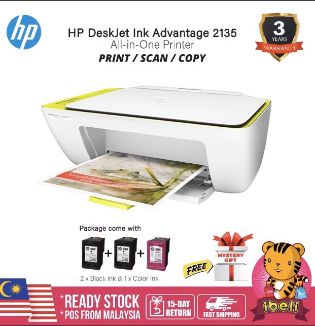 Hp Deskjet Ink Advantage 2135 All In One Printer Full Set Original Hp Malaysia Electronics Others On Carousell