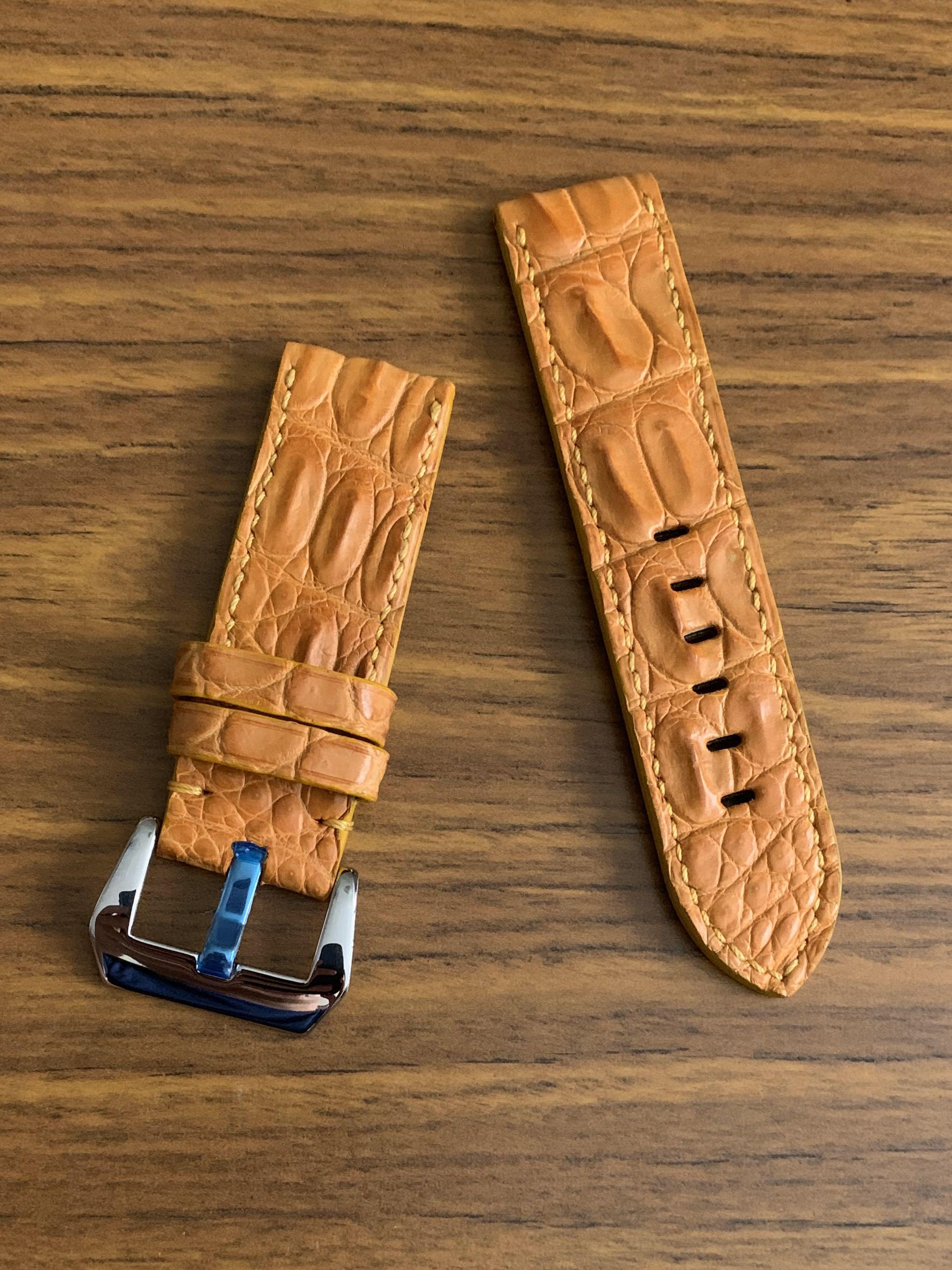 24mm/24mm Authentic Half Hornback Sunrise Tanned Brown Crocodile 🐊 Alligator Leather Watch Strap - (very unique, only one piece, once sold no more 👍🏻😊) (Standard length: L-120mm, S-75mm)