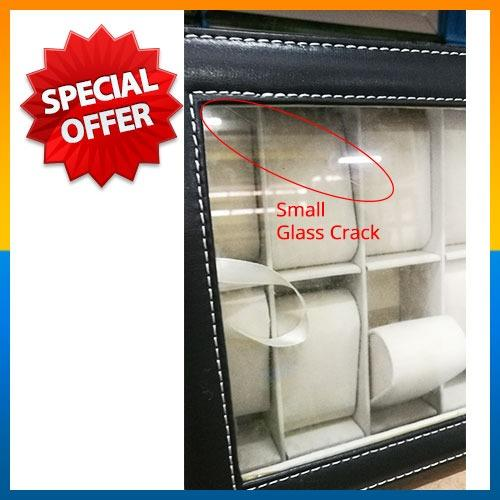 ⭐small Crack⭐Premium PU Leather Watch Display Storage Box Case 10 Slots or 6 Slots