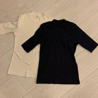 Uniqlo 棉質短袖立領 米白+深藍