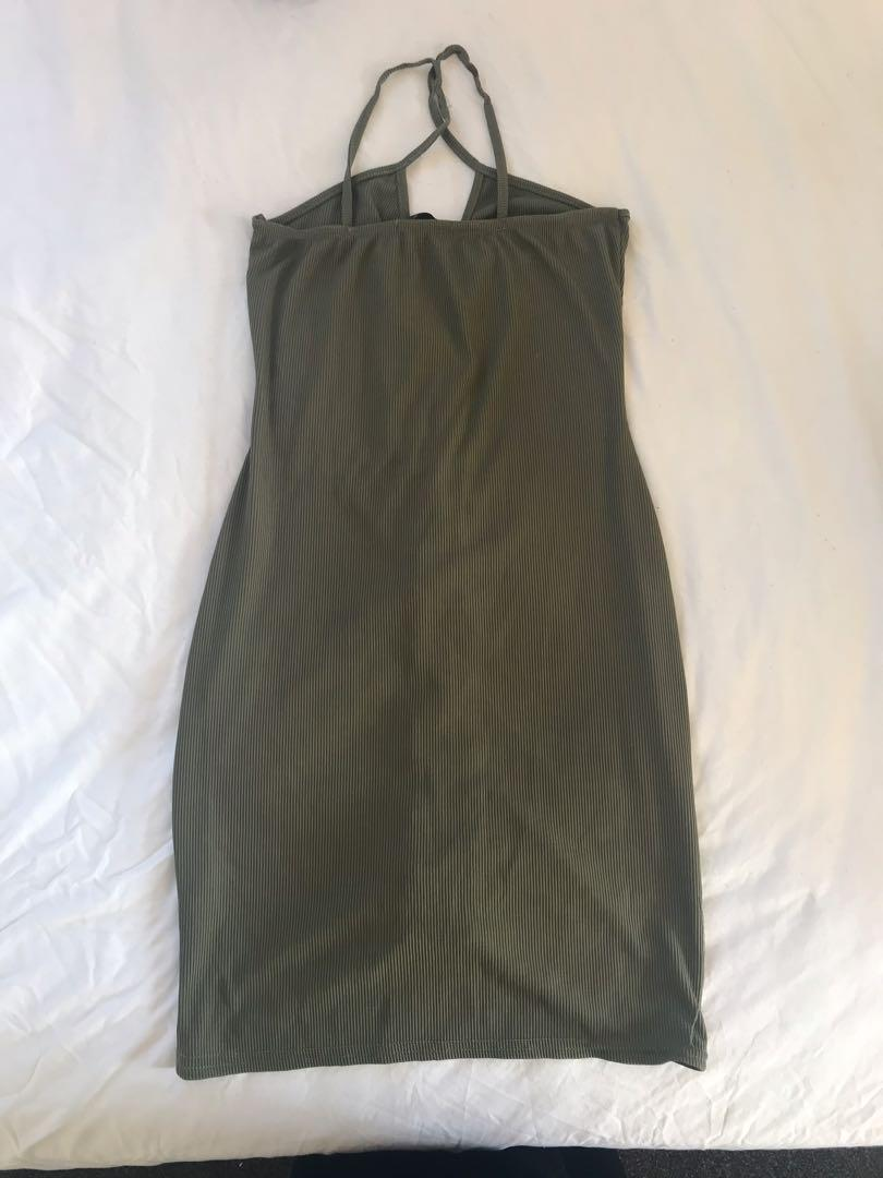Army Green Ribbed Bodycon Dress