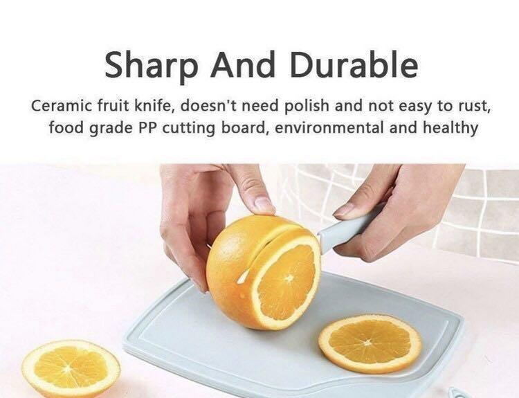 Ready Stock Blue (1 set 3 pcs) 3pcs Set Ceramic Knife Set With Fruit/Vegetable Peeler Mini Cutting Board