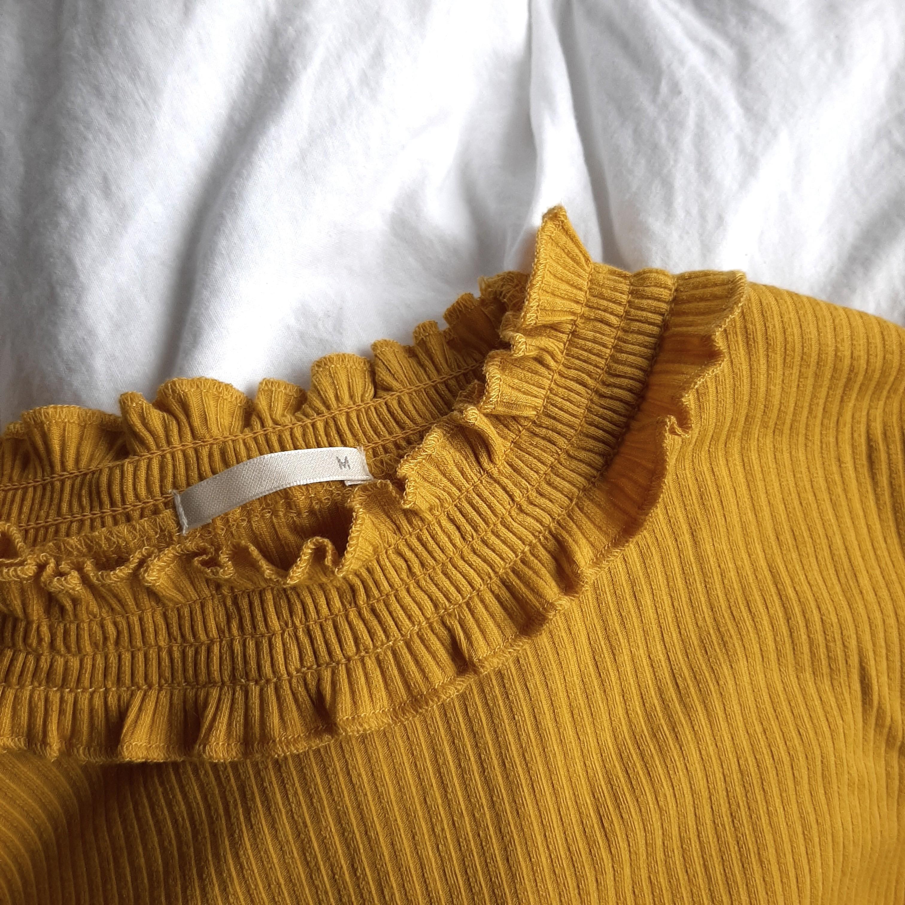 yellow ribbed long sleeve