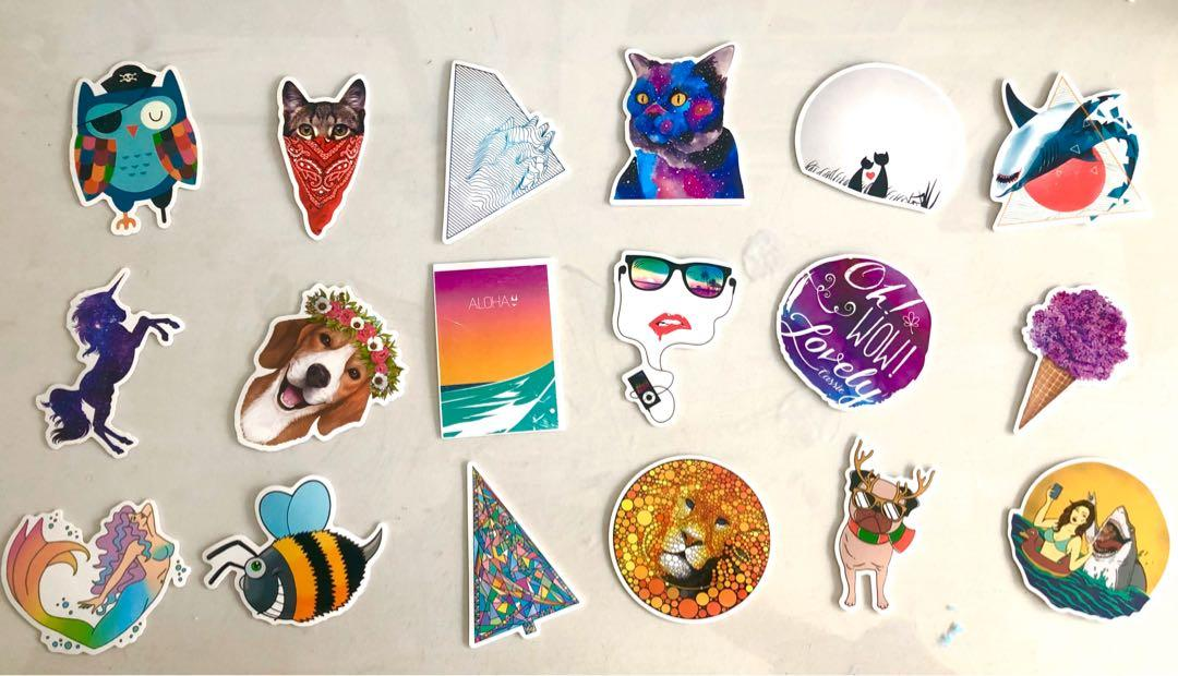 60 waterproof colourful stickers for Nalgene, Skateboard, Guitar etc