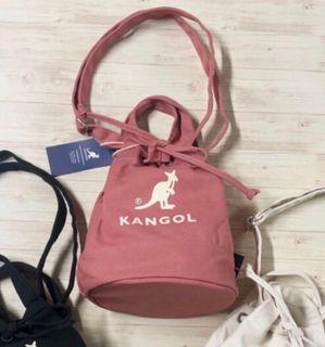 韓國代購正品 Kangol 袋鼠 帆布 水桶 肩背包(粉)