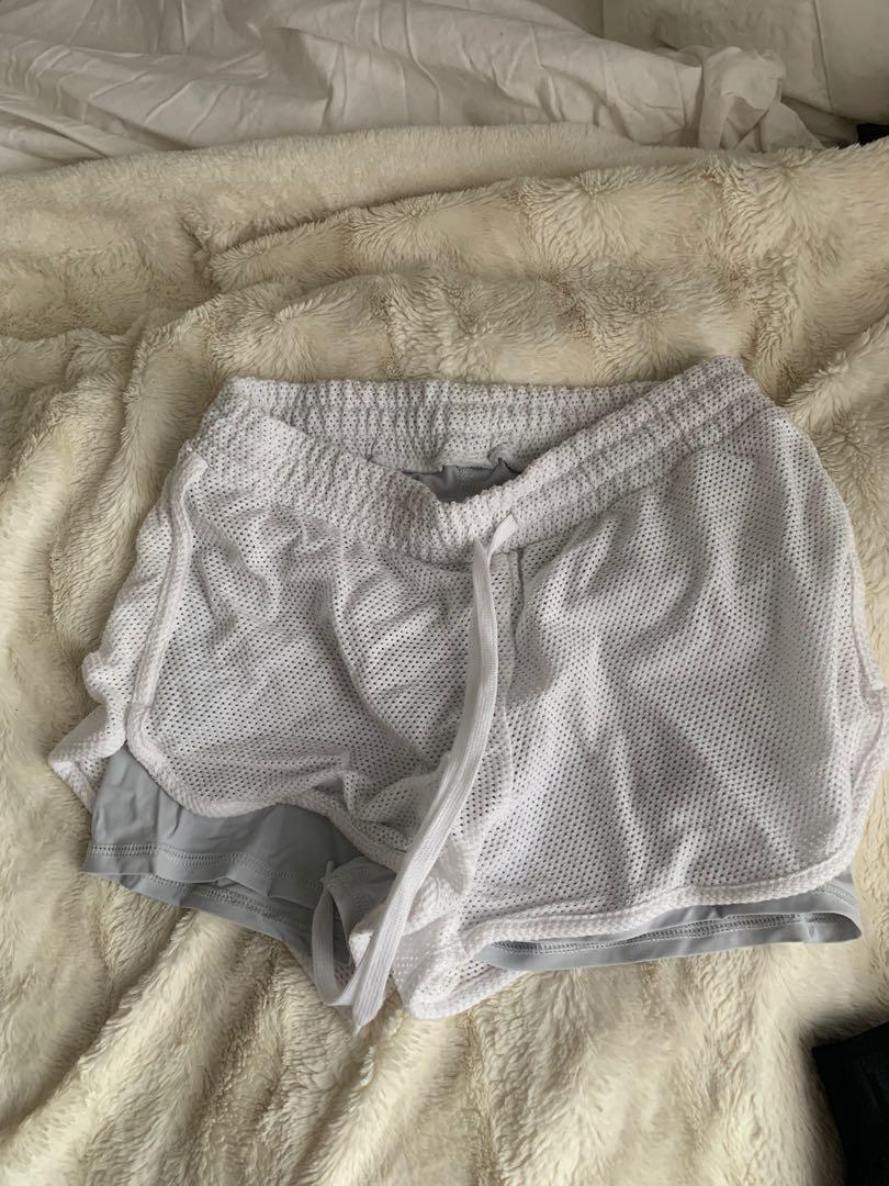 Aritzia Constant White Mesh Shorts, Size: Small (has matching top)