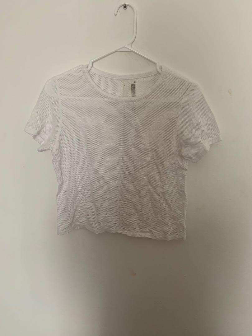 Aritzia Constant White Mesh Top, Size: Small (Has marching shorts)