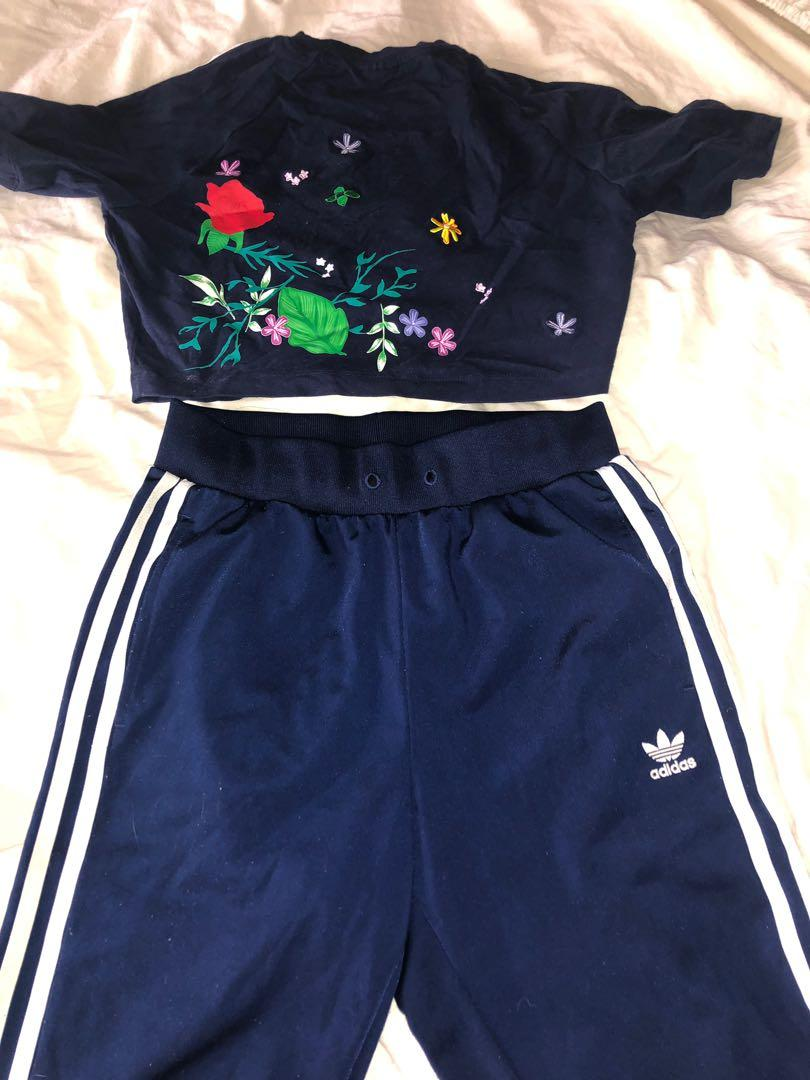 Authentic adidas track suit crop and pants