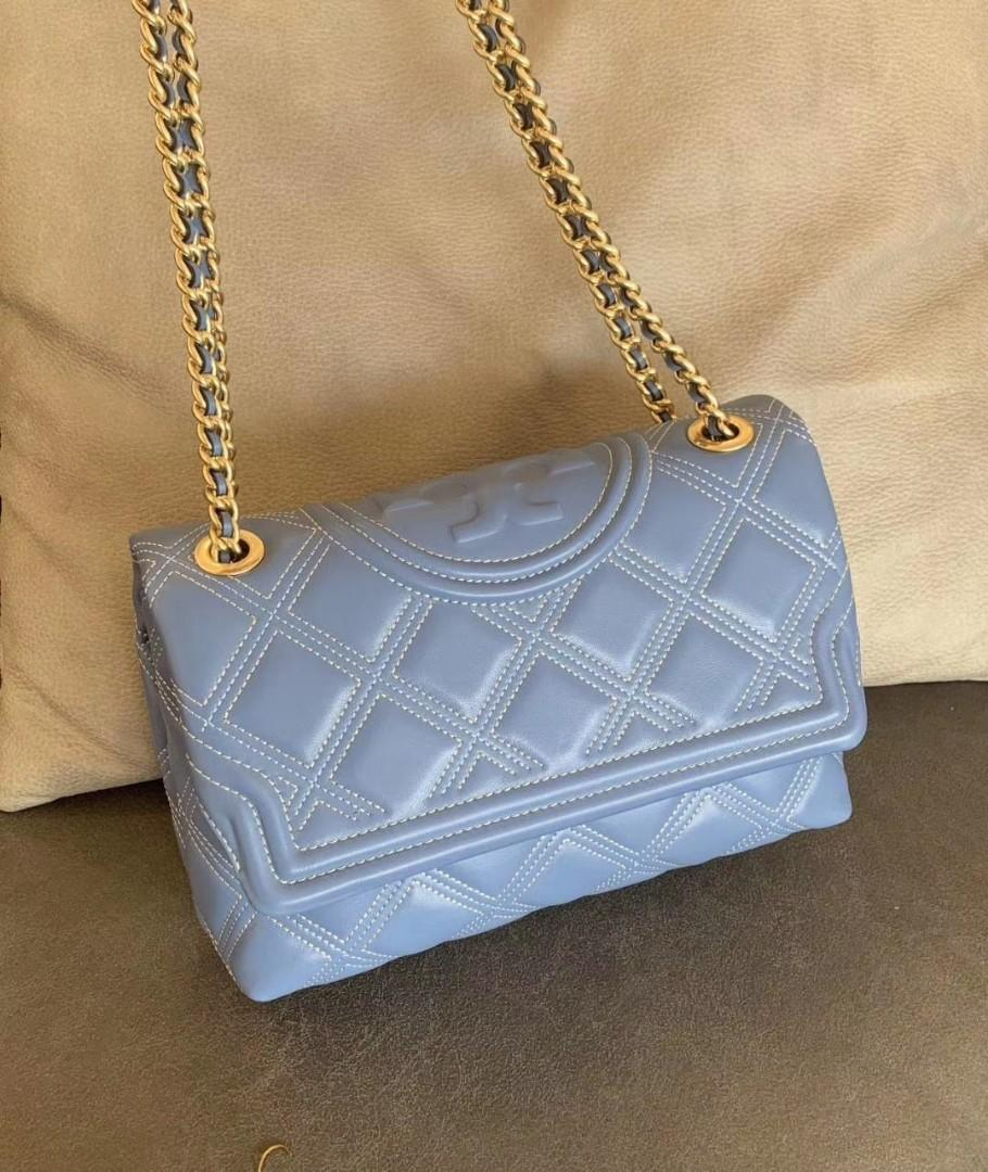 Authentic Tory Burch soft Fleming convertible bag in sky blue crossbody sling bag