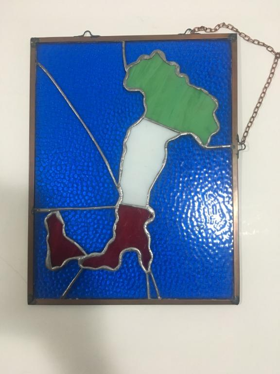 Hand Made Map of Italy Stained Glass Frame (36 cm x 28 cm)