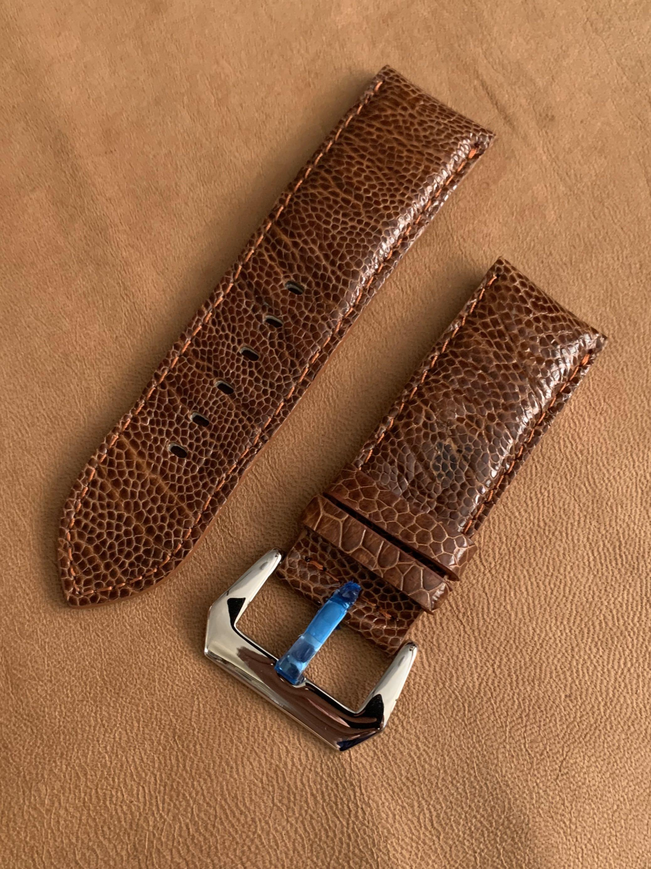 [DISCOUNTED] 26mm/26mm Cognac Brown Authentic Small Grains Ostrich Leg Leather Watch Strap - 26mm@lug/26mm@buckle   (Length- L:120mm, S:75mm) (only 1 piece like that 👍🏻😊- once sold, no more) - LAST SUCH STRAP - CB SALE!! 😊