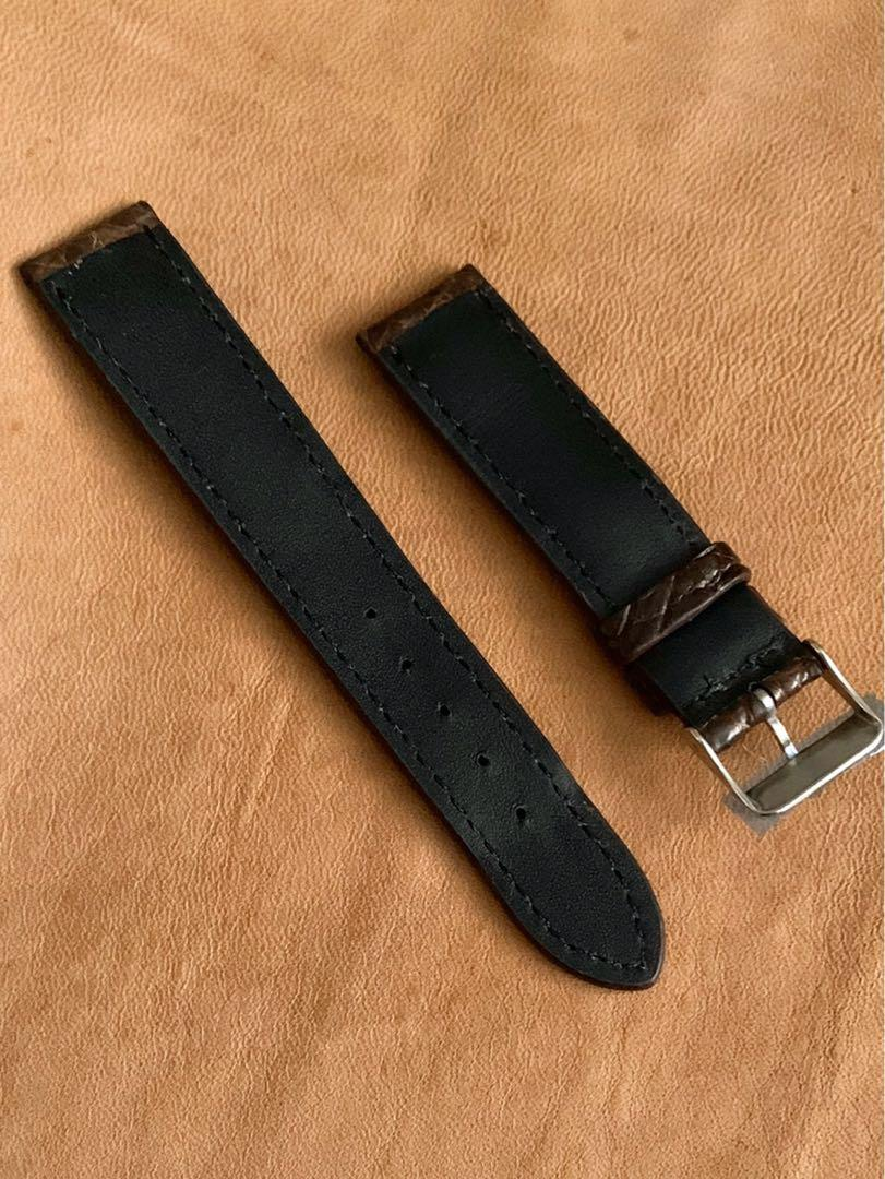 """[DISCOUNTED] 20mm/18mm Pecan Brown """"Hornback"""" Alligator 🐊 Crocodile Watch Strap - 20mm@lug/18mm@buckle   (Length- L:120mm, S:75mm) (only 1 piece like that 👍🏻😊- once sold, no more)"""