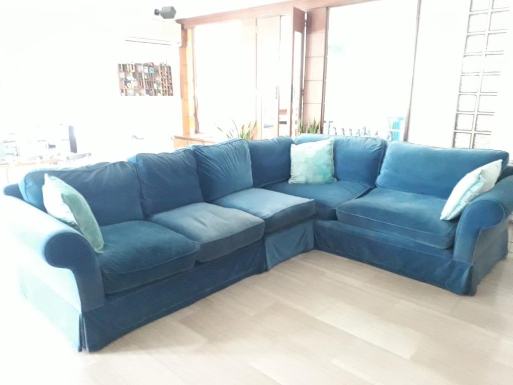 Sofa Blue Velvet L Sectional Furniture Sofas On Carousell