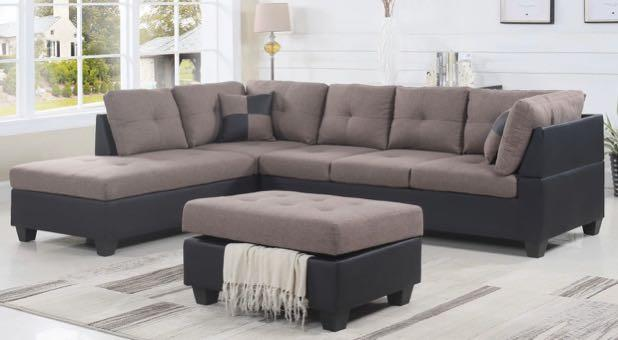 Two-Tone Light Brown and Black Sectional Sofa For Sale