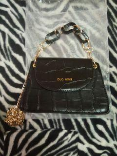 DUO NING雙鏈條皮革包 精品風格 手提肩揹斜背包 二手包包流行配件自有品牌